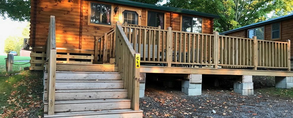 Deluxe cabin, sleeps up to 6, with large deck great for family BBQs and sunsets.